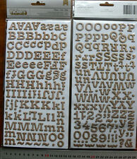 MEMO Note BURLAP Chipboard - 212 ALPHABET & NUMBERS 15-18mmHigh & 8-28mmWide L4