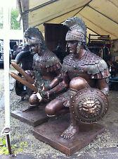 HUGE PAIR OF BRONZE SPARTAN ROMAN WARRIORS SCULPTURE TROJAN SOLDIER W/SWORD
