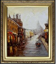Framed, A Quiet Street, Heavy Impasto Hand Painted Oil Painting 20x24in