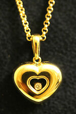 Chopard 18ct Gold Happy Diamonds Heart Necklace Floating Diamond ref 79/2924-20
