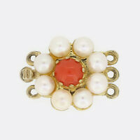 Gold Pearl Clasp- Vintage Coral and Pearl Necklace Clasp 9ct Yellow Gold