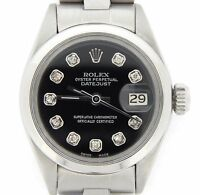 Rolex Datejust Lady Stainless Steel SS Watch Oyster Band Black Diamond Dial 6916