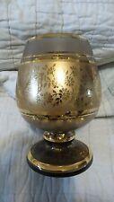 Vintage Brown Glass Vase Gold Rings and Unique Base Filled Bronze Glitter - Sand