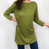 J. Jill Ponte Knit Green Boat Neck Tunic Top 3/4 Sleeve Women's Small