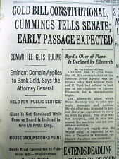 1934 NY Times newspaper Gold Coins Possession illegal rules US Gov't NUMISMATICS