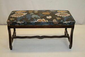 French Provincial Walnut Window Hall Side Bench Covered In Linen Material 1930s