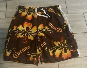 Corona Extra Brown & Yellow Swim Trunks Sz Large