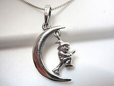 Witch on Broomstick in Crescent Moon Pendant 925 Sterling Halloween Decorations