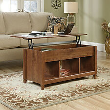 Sauder Lift Top Storage Living Room Coffee Table  Auburn Cherry