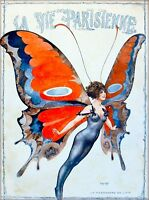 1920s La Vie Parisienne Butterfly Girl France French Travel Art Poster Print