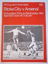 1972 SOCCER PROGRAM - STOKE CITY VS. ARSENAL - TUB BB-3C