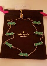 NWT KATE SPADE Bow Gold Green Moon River Necklace Dust Bag Cute!!