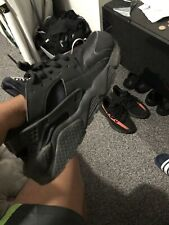 "Nike Air Huarache ""Triple Negro 'Zapatillas Uk Size 8 EUR 42.5 * 318429-003 *"
