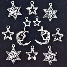 12pcs MOON & STAR Charm Set, size 12mm to 24mm, Antiqued Tibetan Silver