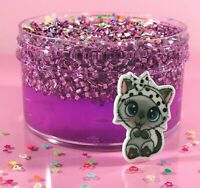 "SCENTED Clear SLIME ""MEOWGICAL"" BINGSU Beads Crunchy Purple Glitter Charm 6 8 oz"
