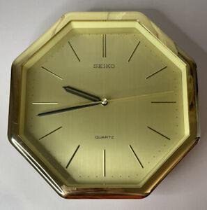 "Rare Vintage Seiko Wall Clock Hexagonal 80s Golden Quartz Japan Just Under 10"""