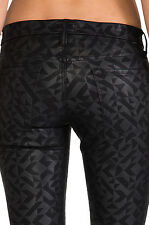 MOTHER JEANS Coated Slim PLEATHER Black Pant THE LOOKER Rough Around Edges $235