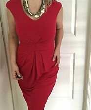 BASQUE WOMENS DRESS BARBERRY LINED RED V NECK WORK ZIP BACK NWT SZ 8