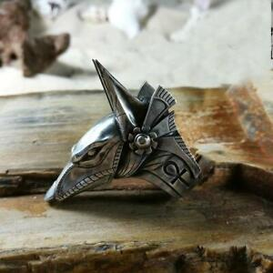 Anubis Egyptian deity god ankh Men biker Rider Ring Italian 925 Sterling silver