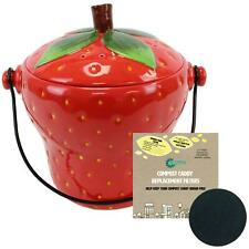 Red Strawberry Ceramic Compost Caddy/Food Waste Bin 2.5L & 1 x Filter Pack