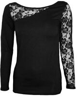 Spiral Direct GOTHIC ELEGANCE Long Sleeve Lace Shoulder Top, Wild/Goth/Tee/Metal