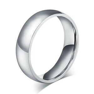 Stainless Steel Wedding Band 6mm Polished Comfort Fit Men's & Women's Ring