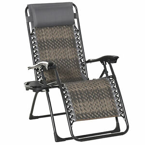 Outsunny Zero Gravity Folding Chair Metal Frame Cup Phone Holder Deck Poolside