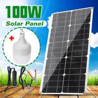 100W 18V Solar Panel 2 USB Battery Charger + 9-36W LED Lamp Light Bulb Outdoor