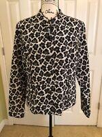 Charter Club Large Black White Leopard Print Unlined Jacket