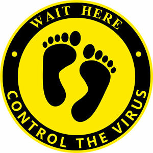 Wait Here Control Virus Floor Social Distancing Sticker, Self Adhesive Signs
