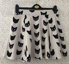 H&M Cream Black Cat Pattern Skater Style Skirt Size M