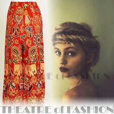 TROUSERS INDIAN 70s BOHO VINTAGE HIPPY FESTIVAL 10 12 14 WILD ETHNIC EMBROIDERED