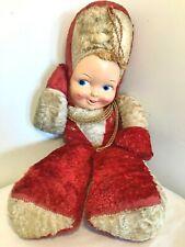 """Vtg Rushton? Soldier Drummer Plush Doll Large Plastic Face 25"""" Dk Red Christmas"""