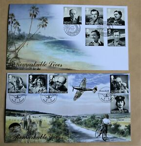 REMARKABLE LIVES 2014 PAIR OF BUCKINGHAM FDC'S PLOMLEY CLOSE & BEAULIEU H/S