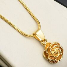 "Women's Flower Pendant Necklace 18k Yellow Gold Filled 18"" Link Fashion Chain"