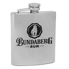 120543 BUNDABERG RUM BUNDY BEAR 6oz STAINLESS STEEL HIP FLASK ALCOHOL DRINKING