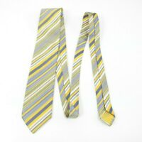 Brioni Made Italy Thick Yellow Satin Blue Stripe Silk Cotton Blend Tie