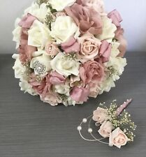WEDDING FLOWERS BRIDES BOUQUET VINTAGE BLUSH DUSKY PINK IVORY ROSES BUTTONHOLE
