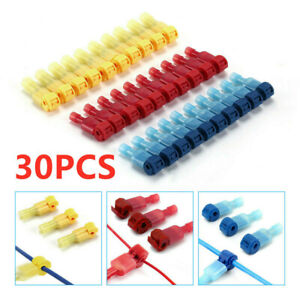 30pcs Insulated 22-10 AWG T-Taps Quick Splice Wire Terminal Connectors Combo Kit