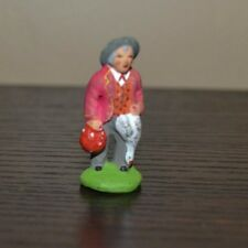 Vintage Santons Marcel Carbonel Man w/ Bird Village Figurine Size #1 Clay Figure