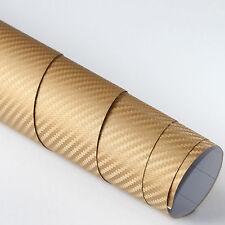 3x DIN A4 Wrapping Folie 3D Carbon Gold 21cm x 29,7cm Autofolie m Luftkanälen