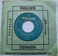 SHEILA L'heure de la sortie  / Le plus joli VG++ CANADA ONLY 1966 FRENCH POP 45