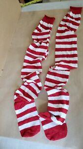 Womens Thigh High Socks Red White Stripe NWOT