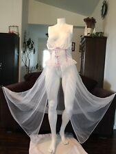 Vintage Treasures By Faris Magenta White Lingerie Nightgown Nightie Sz L