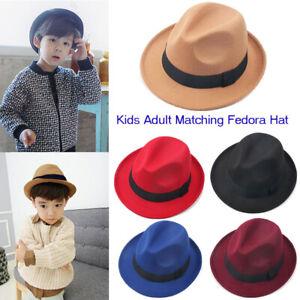 Kids Boys Mens Vintage Fedora Hat Top Jazz Wide Brim Black Church Bowler Hat Cap