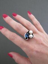 Vintage Modernist Silver Pearl Topaz Ring