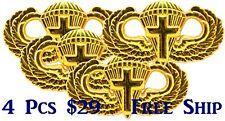 4 x Lot Airborne Chaplain Jump Wing Badge US Army Parachutist GOLD Cross Pin