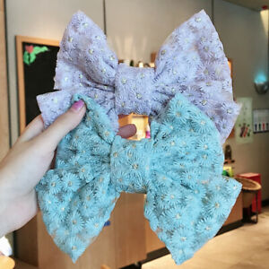 Large Bow Embroidered Lace Hair Clip Heavy Handmade Super Fairy Hair Accessories