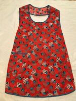 Vintage 50s Blue ROSES Red HEARTS FULL SMOCK APRON~ SO CUTE