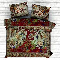 Indian Tree Of Life Traditional Bohemian Duvet Quilt Cover Cotton Bedding Set